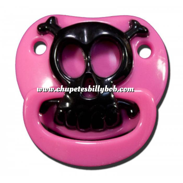 Imagen Chupetes Dientes Chupete Calavera Rosa - Pink Skull Pacifier Billy Bob